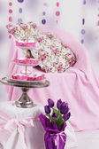 Pink baby shower decor — Stock Photo