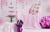 Pink baby shower decor — Foto de Stock