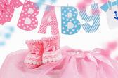 Süßes baby-element mit wort-baby und rosa stiefel — Stockfoto