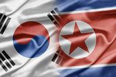 νότια κορέα και βόρεια κορέα — Φωτογραφία Αρχείου