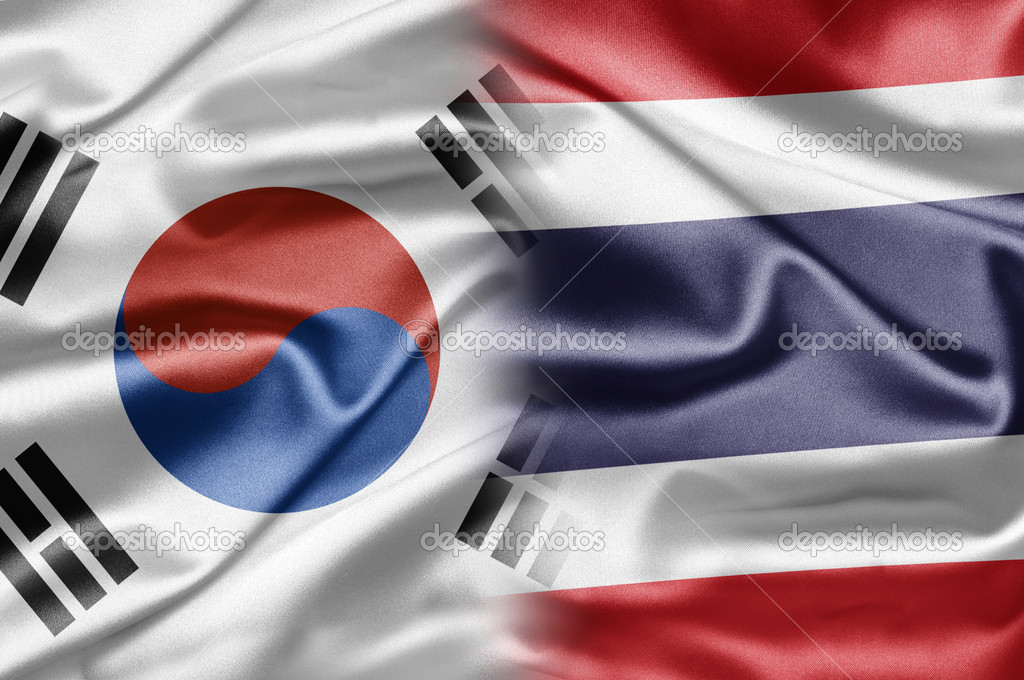 South Korea and the nations of the world. A series of images with South Korean flag — Stock Photo #12635591