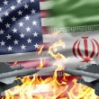 The confrontation between US and Iran - Stock Photo