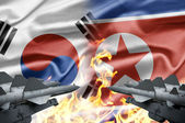 The confrontation between South Korea and North Korea — Foto Stock