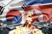 η αντιπαράθεση μεταξύ νότια κορέα και βόρεια κορέα — Φωτογραφία Αρχείου