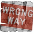 Stock Photo: Wrong Way Sign