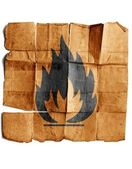 Fire Hazard warning symbol — Stock Photo