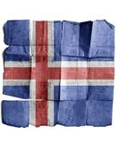 Iceland flag on old paper. — Stock Photo