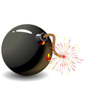 Round black bomb — Stock Vector