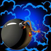 Round black bomb — Stock Vector