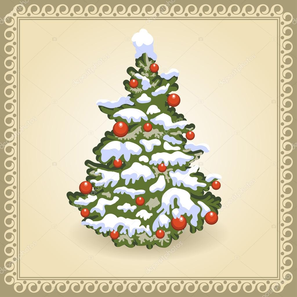 Christmas Tree. Card in vintage style.  Stock Vector #13467421