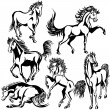 Horses set — Stock Vector