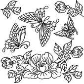 Kwiatów i motyli — Wektor stockowy