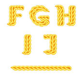 Knitted alphabet F J — Stock Vector