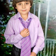 Portrait of a cute boy in the purple shirt and tie — Stock Photo