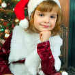 New portrait of pretty girls in the hood of Santa Claus — Stock Photo #14912767