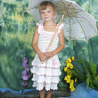Pretty girl with an openwork knitted dress umbrella — Stock Photo