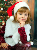 New portrait of pretty girls in the hood of Santa Claus — Stock Photo
