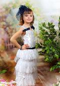 Retro portrait of a pretty girl in a hat — Stock Photo