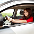 Excited woman driving — Stock Photo #11970308