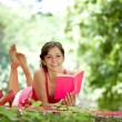 Woman reading book in park — Stock Photo #12630026