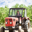 Stock Photo: Woman driving tractor