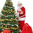 Santa beside Christmas tree with gift — Stock Photo #12630356