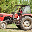 Young country girl on tractor — Stock Photo #12630836