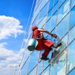 Window washer high office building — Stock Photo