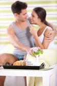 Sweet couple enjoying in morning — Stock Photo