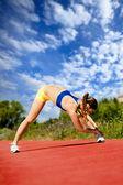 Runner stretching — Стоковое фото