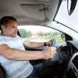 Man driving car , speeding fast. - Foto Stock