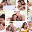 Happy young couple in bed - Stock Photo