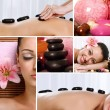 Collage of spa treatments and massages — Stock Photo