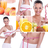 Dieting collage, weightloss — Stock Photo