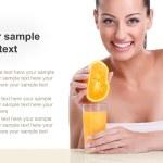 Woman with orange juice — Stock Photo