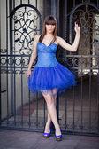 Sensual woman in blue dress — Stock Photo