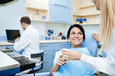 Smiling patient at the dentist — Stock Photo