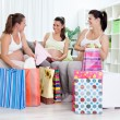 Stock Photo: Happiness pregnant women with their shopping bags