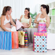 Happiness pregnant women with their shopping bags — Stock Photo