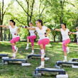 Group of women doing exercises, outdoo — Stok fotoğraf