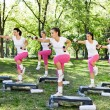 Stock Photo: Group of women doing exercises, outdoo