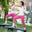 Fitness class, outdoor — Stock Photo