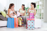 Happiness pregnant women with their shopping bags — Stok fotoğraf