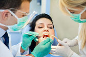 Patient receives an injection at the dentist — Stock Photo