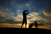 Golf Swing Silhouette — Stock Photo