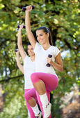 Women doing aerobic exercise — Stock Photo