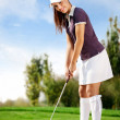 Girl playing golf — Stock Photo #16942771