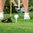 Golfer ready to tee off - Stock Photo