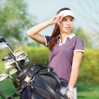 Girl golf player — Stock Photo