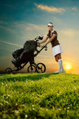 Female golfer with golf bag — Stock Photo